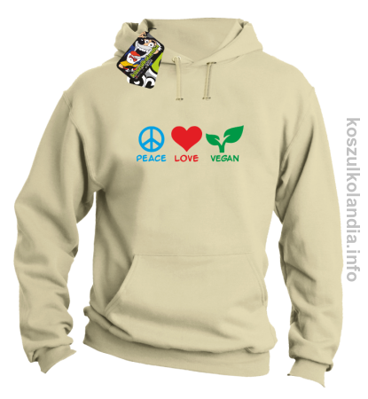 Peace Love Vegan - Bluza męska z kapturem