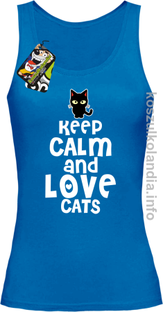 Keep Calm and Love Cats Black Filo - Top damski