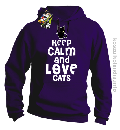 Keep Calm and Love Cats Black Filo - Bluza męska z kapturem