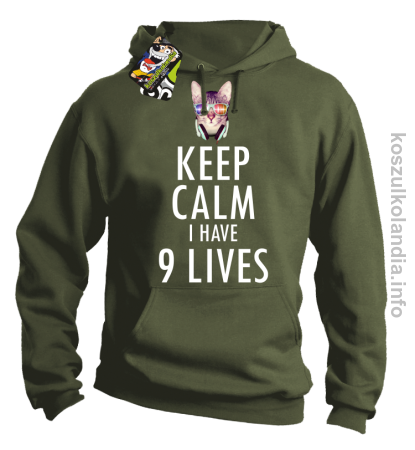 Keep Calm i Have 9 Lives Cat Disco - Bluza męska z kapturem