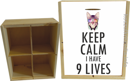 Keep Calm i Have 9 Lives Cat Disco - Skrzynka ozdobna