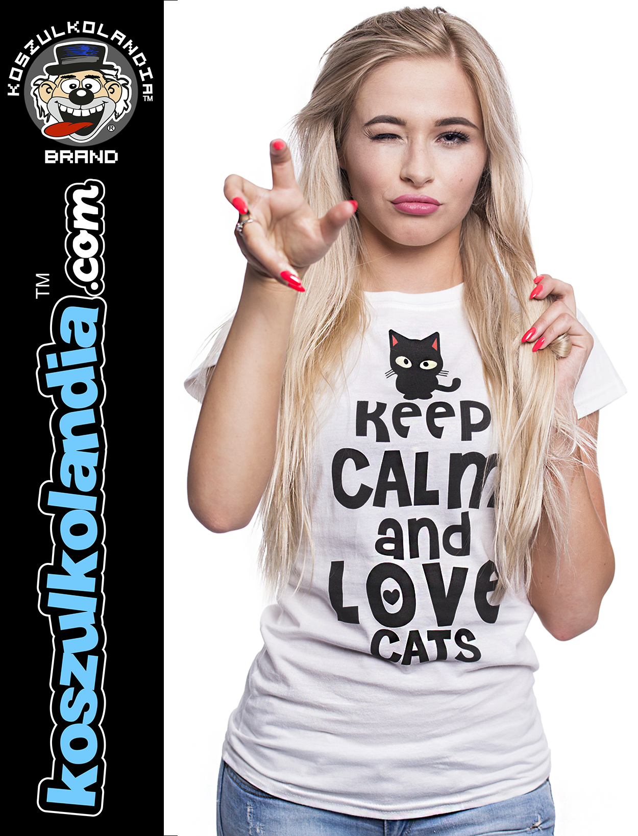 Keep Calm and Love Cats Black Filo